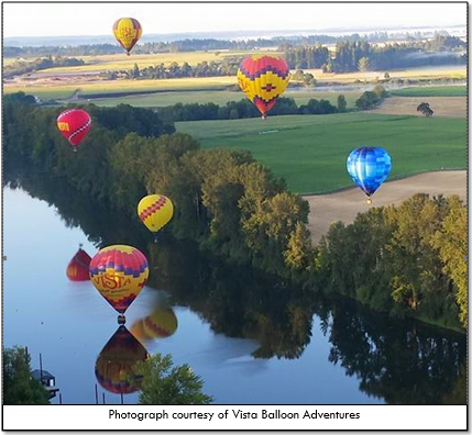 Vista Balloon Adventures soaring over the Willamette River