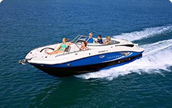 Motor boat cruising on open water