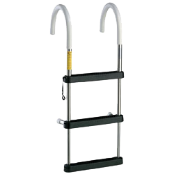 A 3-step telescoping gunwale ladder with padded hooks, black poly steps and padded standoffs