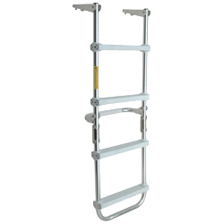 A 4-step pontoon ladder with full-width padded standoff