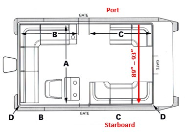 Measure pontoon boat from port to starboard rails