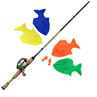 Backyard Bass casting game with fishing pole